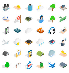 all day airport icons set isometric style vector image