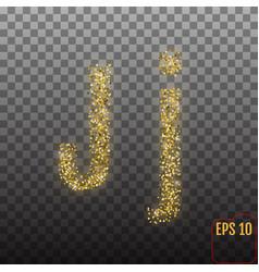Alphabet gold letter j on transparent background vector