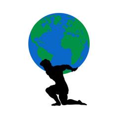 Atlas titan god holds earth silhouette ancient vector
