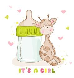 Baby shower card - cute giraffe vector
