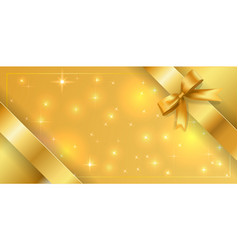 Banner tied with a gold ribbon around edges vector