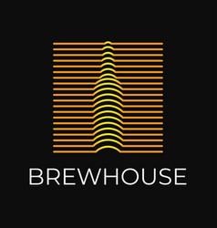 beer bottle logo brew on black background vector image