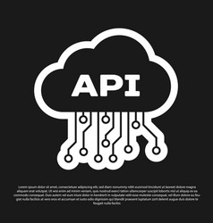 Black cloud api interface icon isolated on black vector