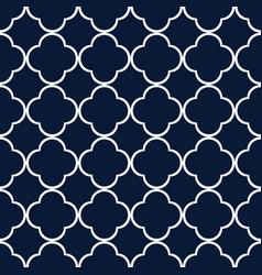 Blue quatrefoil outline ornamental pattern vector