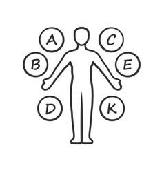 Body vitamins linear icon a b c d e k vector