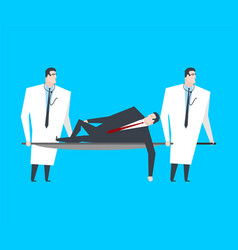 businessman is lying on stretcher doctors carry vector image