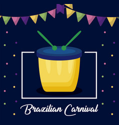 Carnival rio janeiro card with drum vector