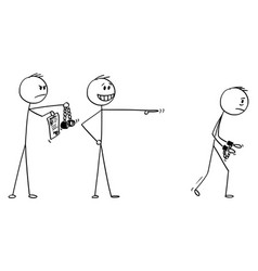 Cartoon businessman making a mock another vector