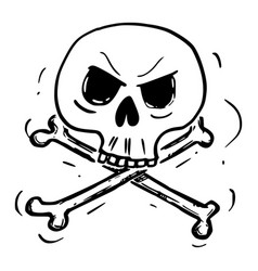 Cartoon crossbones skull and bones danger vector