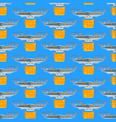 cartoon drone seamless pattern background vector image