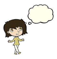 Cartoon girl with no worries with thought bubble vector