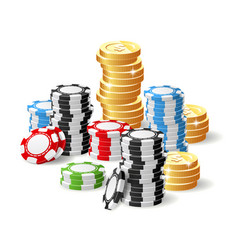 casino and jackpot - gambling chips heap and vector image