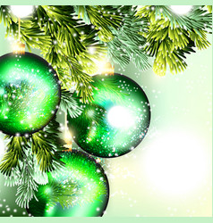 Christmas background with green baubles hang vector