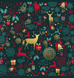 Christmas gold deer decoration seamless pattern vector