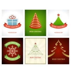 Christmas greetings cards backgrounds set vector image