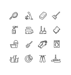 Cleaning line icons vector