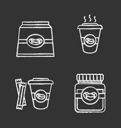 Coffee chalk icons set vector