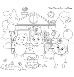 Coloring three little pigs folktale happy ending vector