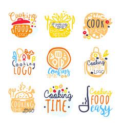 cooking food easy logo design set colorful vector image