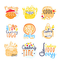 Cooking food easy logo design set of colorful vector