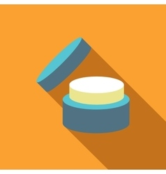 Cosmetic face cream jar icon flat style vector