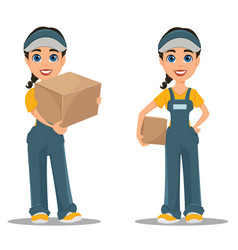 Courier woman holding carton box set professional vector
