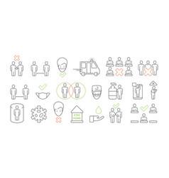 covid19 prevention icon social distance public vector image