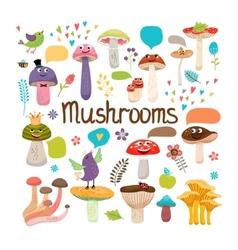 Cute cartoon mushrooms with faces vector