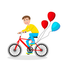 cute little boy riding bicycle on white background vector image