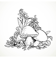 Decorative graphics mushrooms and flowers Black vector image