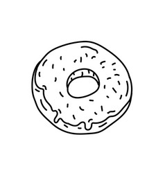 doughnut icon doodle hand drawn or black outline vector image