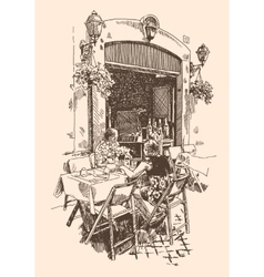 Drawing european street outdoor cafe in rome vector