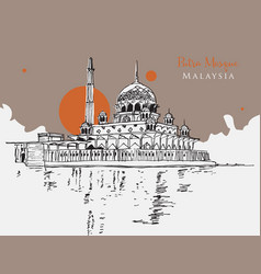 drawing sketch putra mosque malaysia vector image