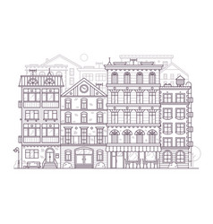 Europe city street background in line art vector