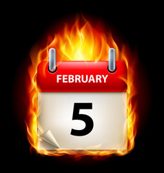 Fifth february in calendar burning icon on black vector
