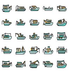 fishing boat icons set flat vector image
