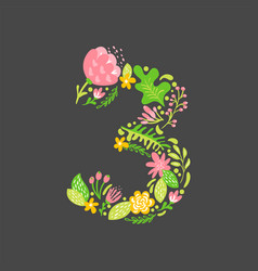 floral summer number 3 three flower capital vector image
