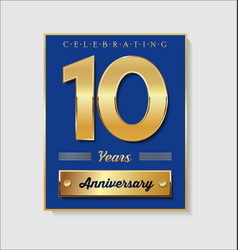 Gold and blue anniversary banner collection 10 vector