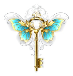 Golden Key with Butterfly Wings vector