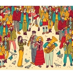 Group street musicians band and audience color vector image