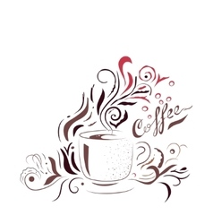 Hand Drawn Coffee Cup with Floral Design Sketch vector