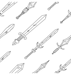 hand drown pattern with swords vector image