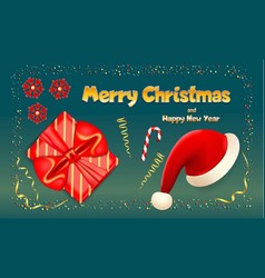 happy merry christmas banner realistic style vector image