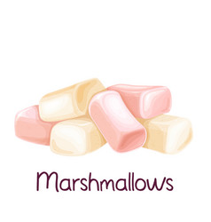 heap white and pink marshmallow vector image