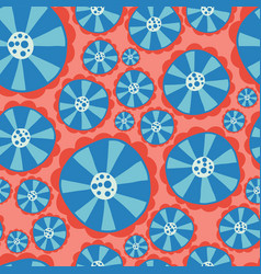 Hippie flower power seamless pattern red vector