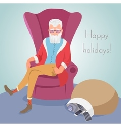 Hipster Santa sitting in a chair vector