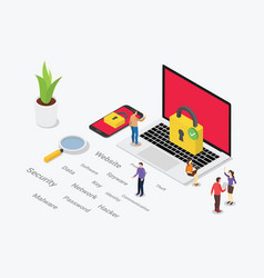 isometric cyber security concept with team people vector image