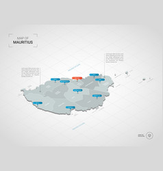 Isometric mauritius map with city names and vector