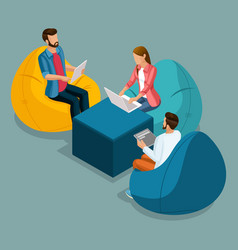 isometric young people freelancers students vector image