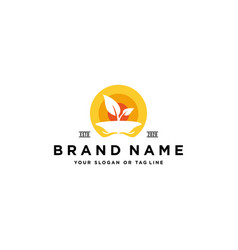 Leaf hand logo design vector
